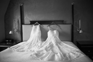 Bride's dresses on their wedding day