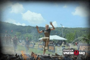 DeeJay Shelly jumping fire at Spartan Blue Mountain